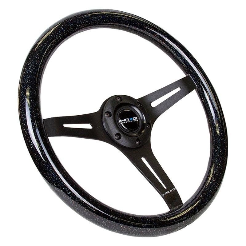 350mm 3 black spokes, green pearl//flake paint NRG Innovations ST-015BK-GN Classic Wood Grain Wheel